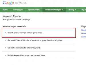 Google AdWords: Keyword Planner Tool