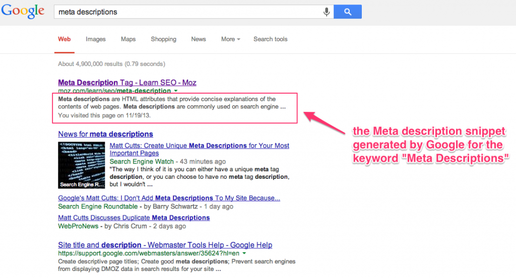 Meta Description Snippet Generated by Google