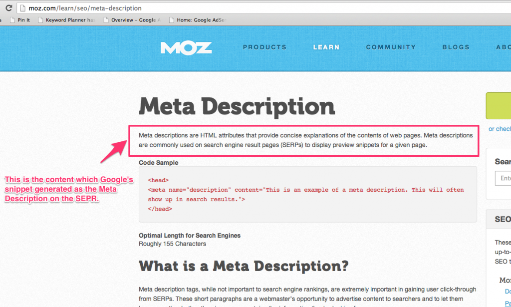 Moz Page with meta description